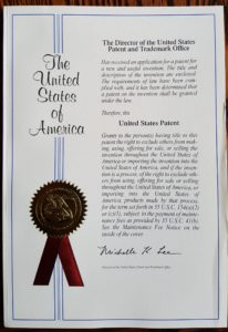 Front Cover of Patent