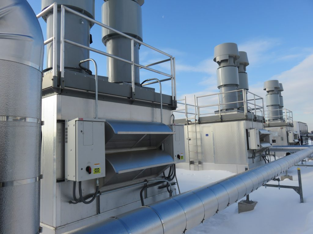 Rooftop units in winter